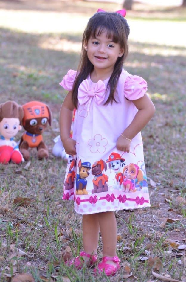 Vestido infantil Patrulha Canina