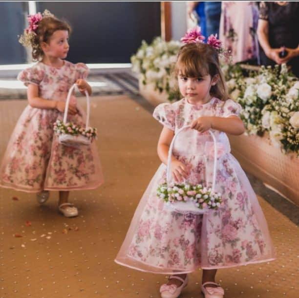 Vestido infantil floral daminha