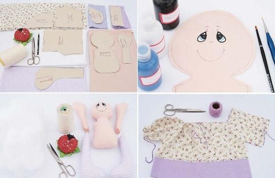 Como fazer boneca de pano com moldes passo a passo