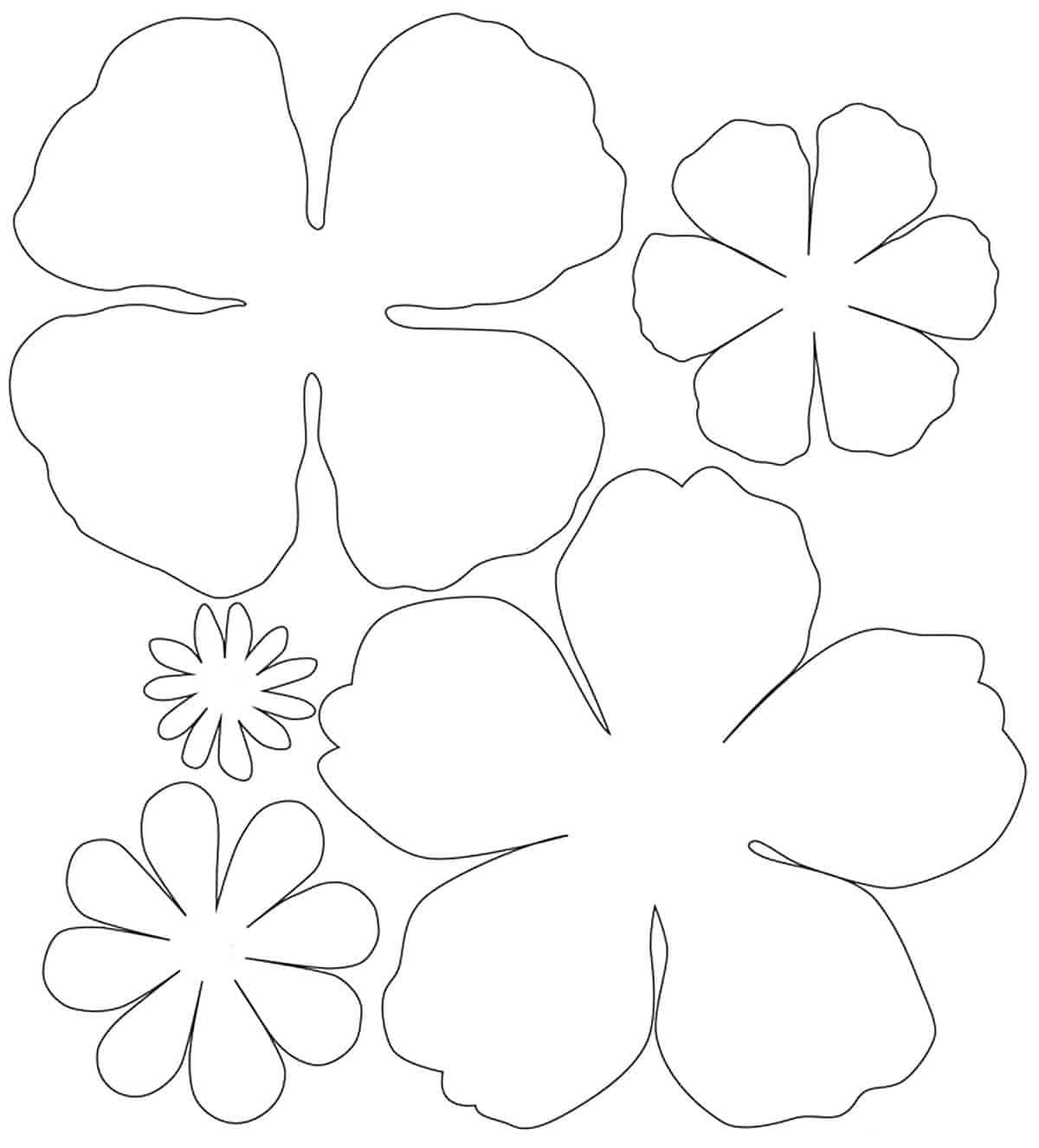 Moldes de Pétalas de Flores de Papel