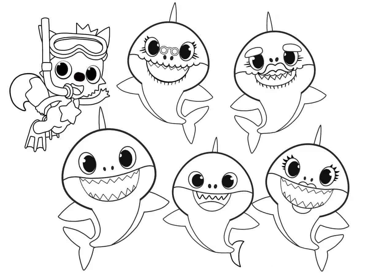 Desenhos do Baby Shark para colorir