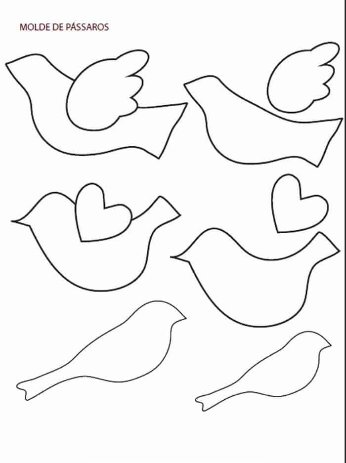 Moldes de passarinhos para imprimir