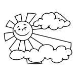 Desenho de sol e nuvem para colorir