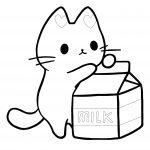 Gatinho com caixa de leite