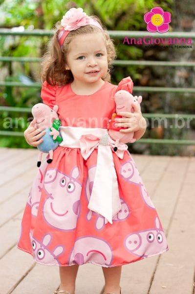 Vestido Aniversário Infantil Peppa Pig com laço Rosa