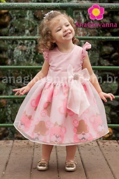 Vestido Infantil de Festa Ursas Marrom e rosa