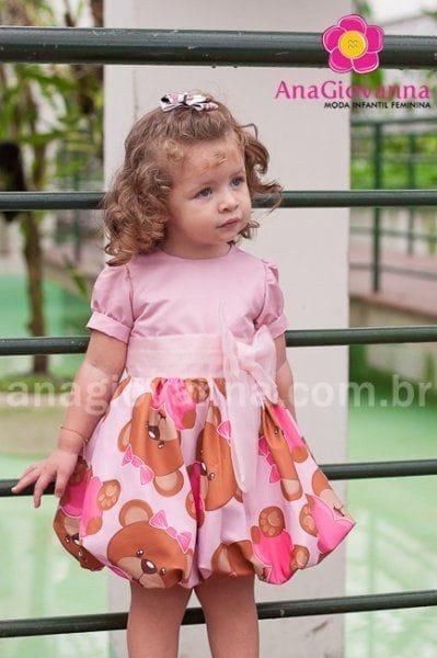 Vestido Infantil Balone Baby Ursos Marrom e rosa