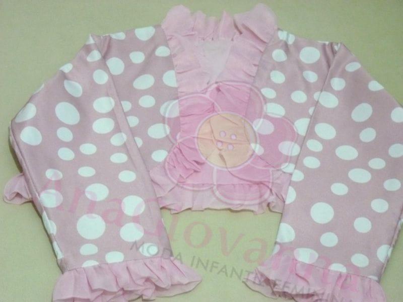 Bolero Infantil Rosa de Bolinha Branca