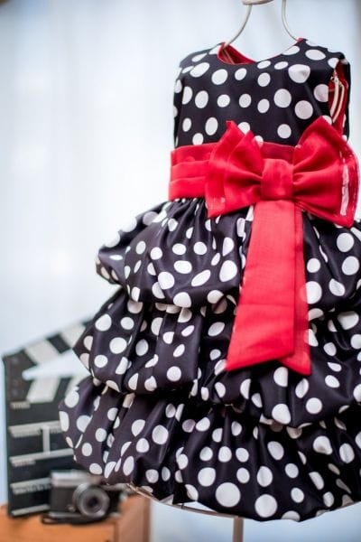 Vestido Minnie Preto com Bolinhas Brancas Balonê