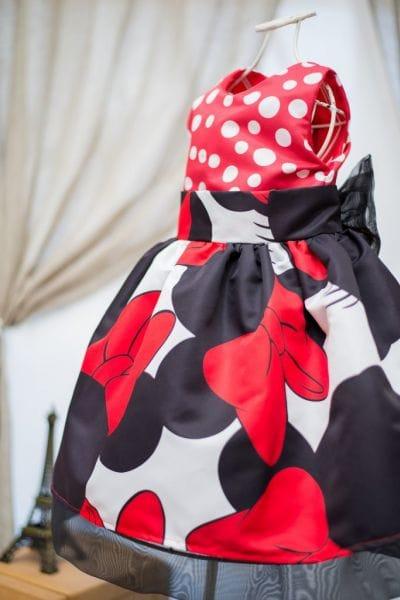 Vestido Social da Minnie Preto e Vermelho