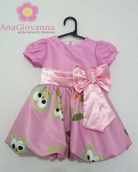 Vestido Infantil Corujinha para festa