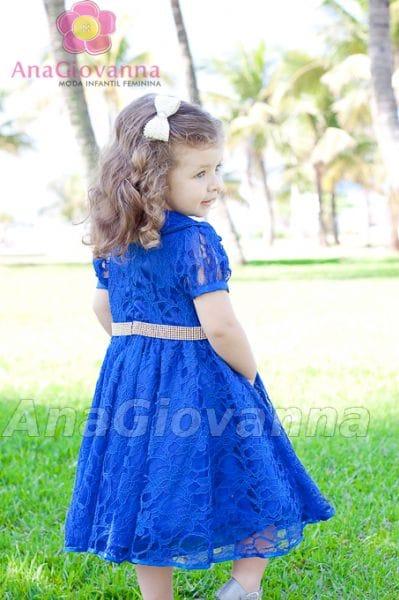 Vestido Infantil de Festa Princesa de renda azul