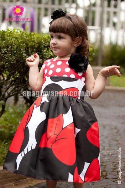 Vestido de aniversário da Minnie para Festa Infantil