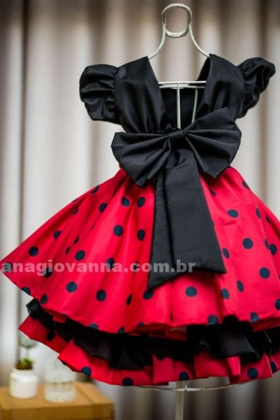 Vestido Infantil Minnie Vermelha Luxo