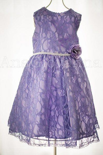 Vestido para festa infantil de renda lilás