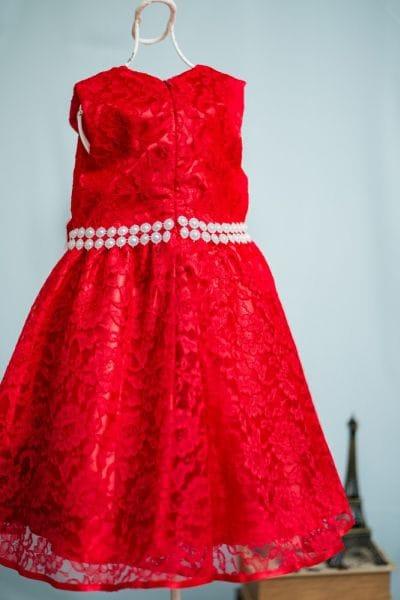 Vestido de renda vermelha infantil para festa