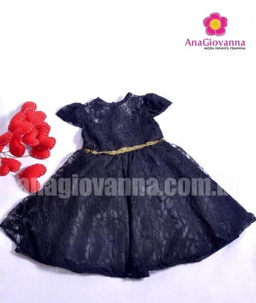 Vestido para festa Infantil de Renda Preto