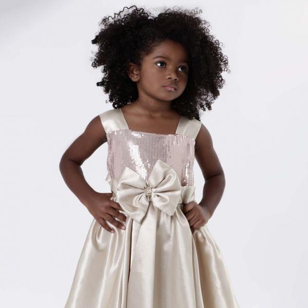 Vestido Infantil Festa Dourado Luxo