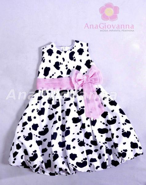 Vestido Infantil Fazendinha Rosa Baby