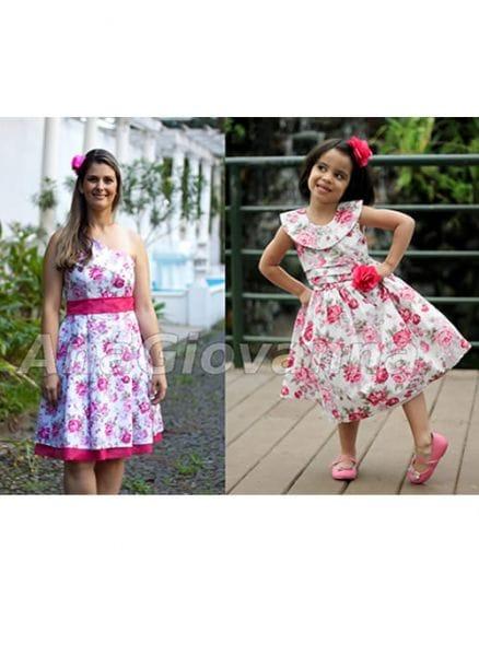 Vestidos Mãe e Filha Floral Pink Festa Feminina