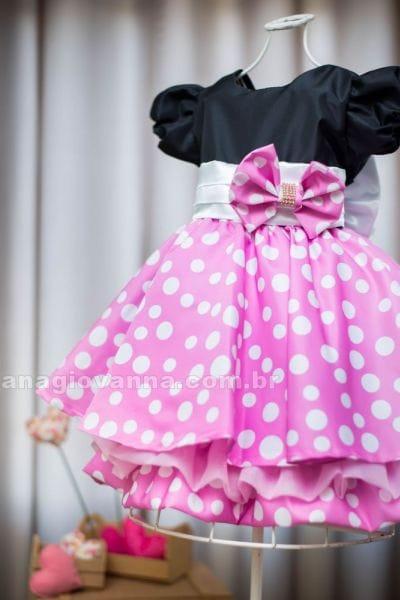Vestido Minnie preto com rosa
