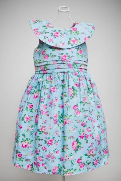 Vestido Infantil Floral Azul para Festa
