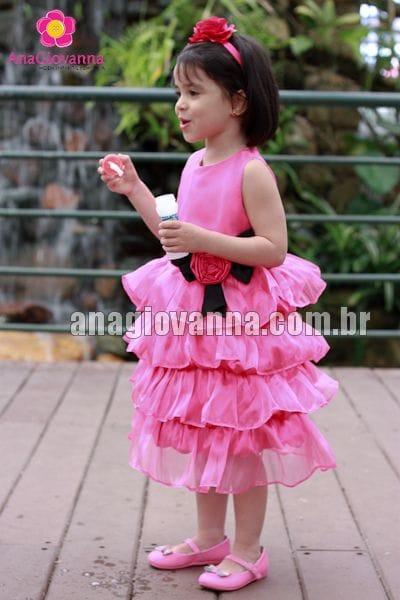 Vestido Infantil Pink com Preto 3 anos