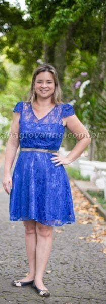 Vestido Adulto de Renda Azul