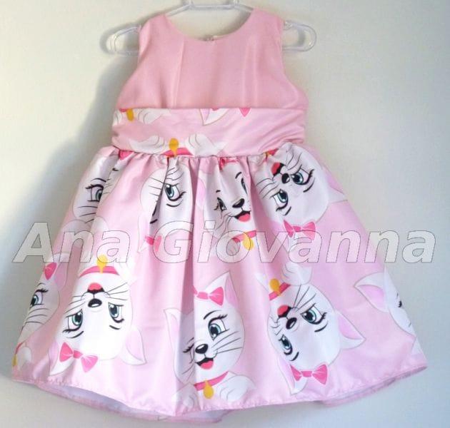 Vestido para Festa Infantil Gata Marie para aniversário