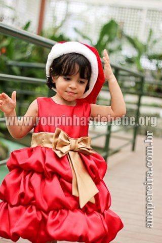 Vestido Infantil Balonê Vermelho e Dourando 06 anos