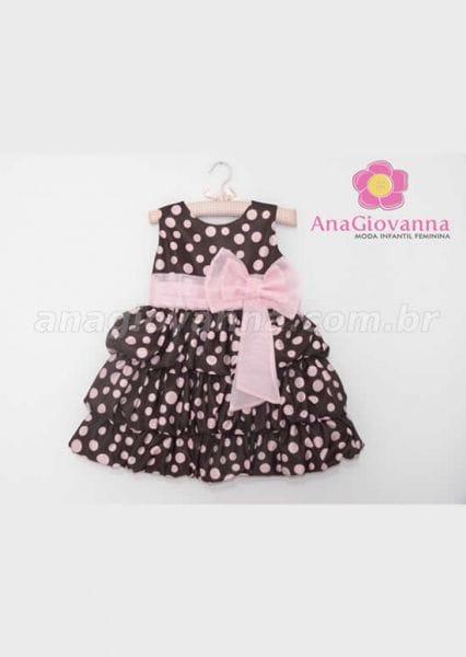 Vestido Infantil Marrom de Poá Rosa para Festa