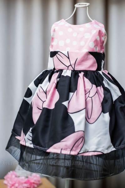 Vestido Social Infantil da Minnie Rosa para aniversário