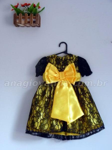 Vestido Infantil para festa de Renda Amarelo e Preto