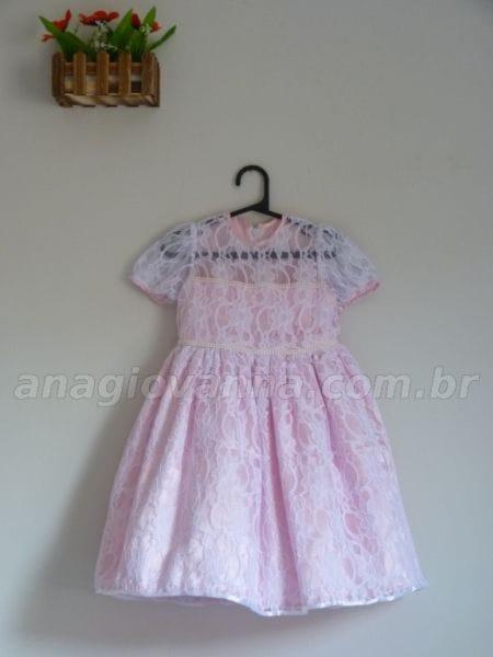 Vestido Infantil de Renda Branco e Rosa
