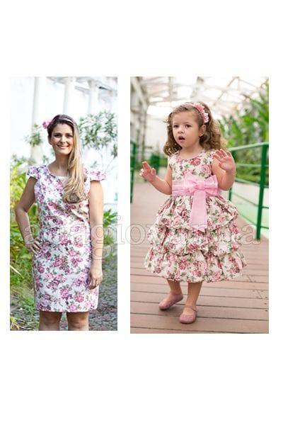 Vestidos Floral Tal Mãe Tal Filha Rosa