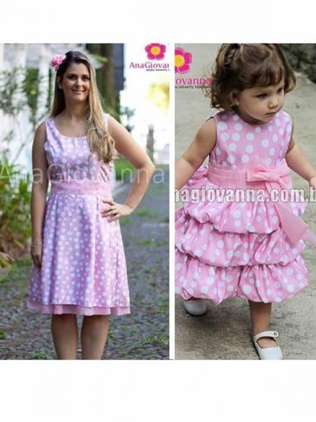Vestidos Tal Mãe Tal Filha Festa Minnie Rosa