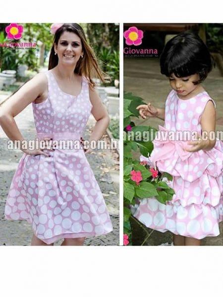Vestidos Mãe e Filha da Minnie Rosa Poá Branco