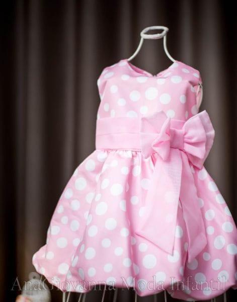 Vestido Minnie Rosa Festa Aniversário Feminino