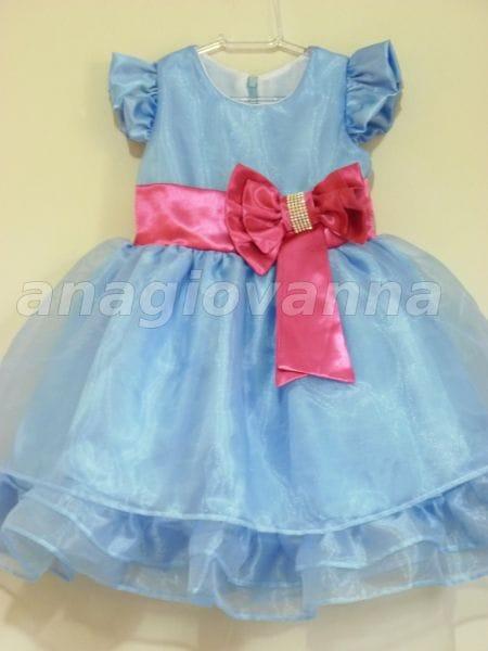 Vestido Infantil de Festa Azul e Rosa