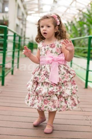 Vestido para Festa Infantil Balonê Floral Rosa