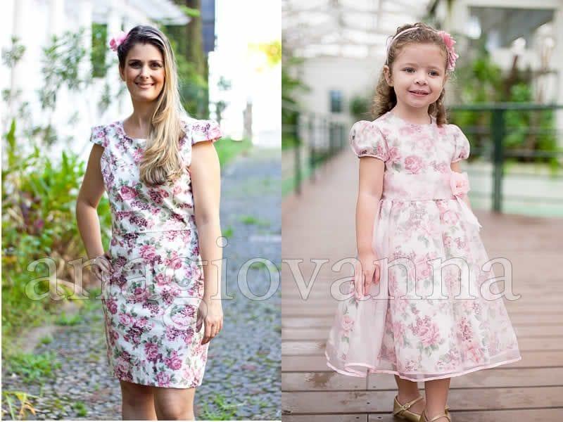 Vestidos Tal Mãe Tal Filha Floral Rosa