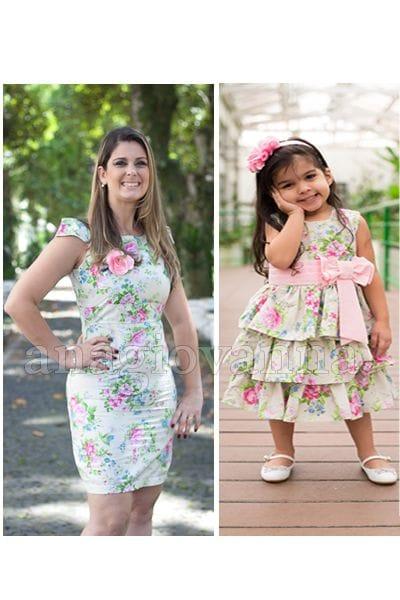 Vestidos Tal Mãe Tal Filha Floral Verde