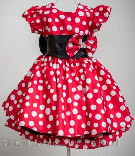Vestido Aniversário Minnie Vermelha para Festa Infantil