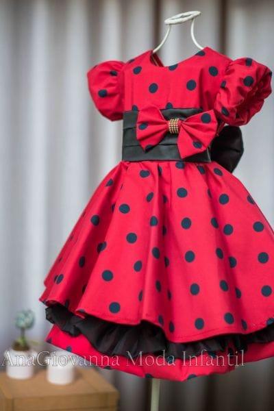 Vestido de Festa da Minnie Vermelha Infantil