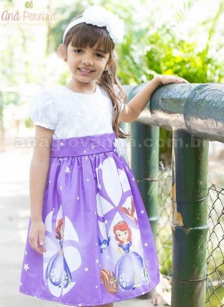 Vestido Princesa Sofia Luxo para aniversário infantil