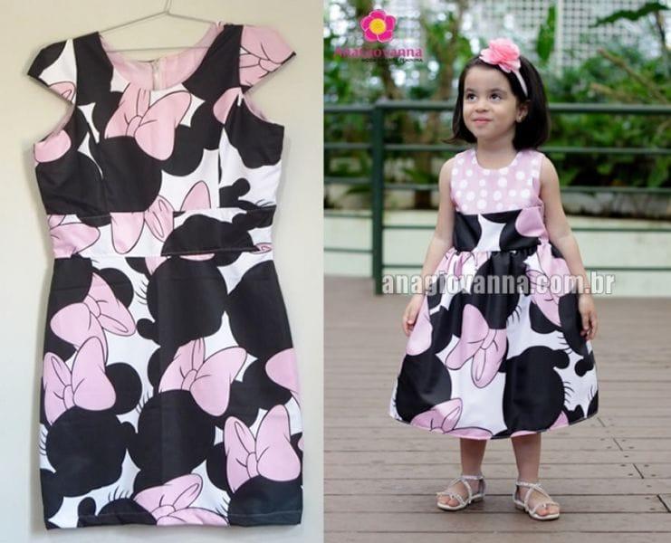 Vestidos Tal Mãe Tal Filha Minnie Rosa para Festa