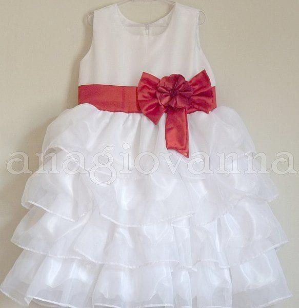 Vestido Infantil de Festa Branco com Laço Vermelho