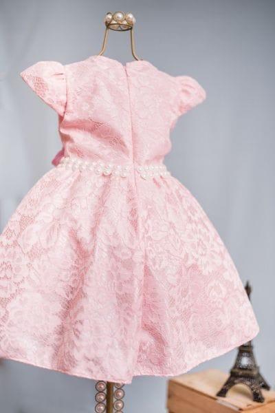 Vestido Infantil Princesa Rosa de Renda para Festa