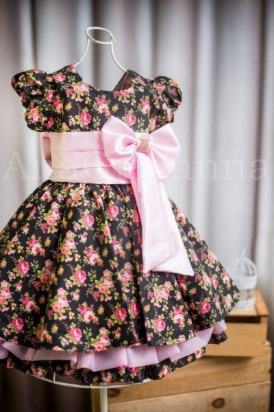 Vestido para festa Infantil Floral Preto