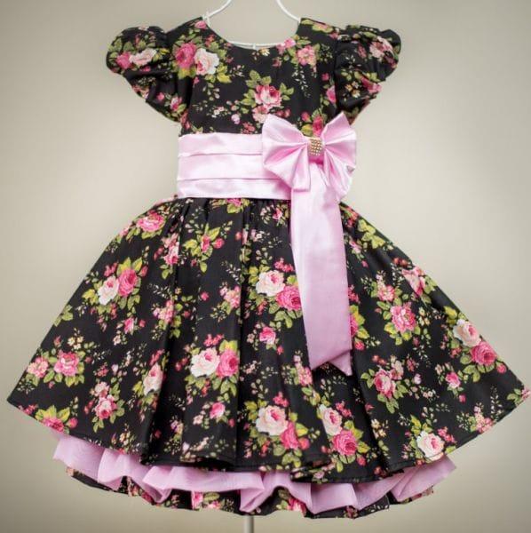 Vestido florido infantil festa